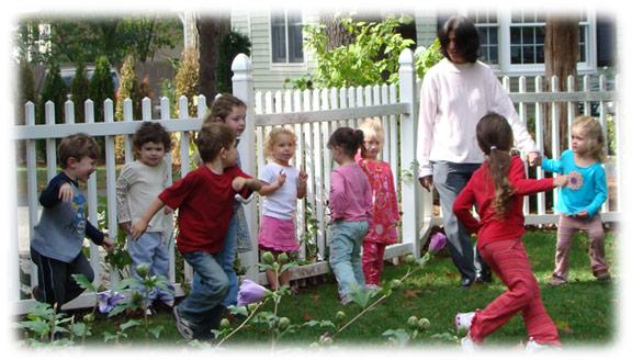 children playing in yard